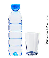 Blue bottle with water and glass isolated on white