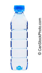 Blue bottle with water isolated on white