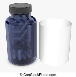 Blue bottles on white background.3D Rendering