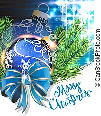 Blue bow and Christmas bauble