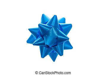 Blue bow.