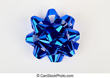 Blue bow for gift box.
