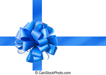 Blue bow from ribbon isolated on white