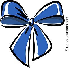 Blue bow, illustration, vector on white background.