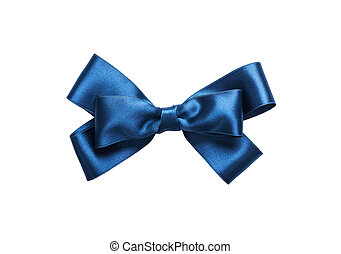 Blue bow isolated on white background. Close-up.