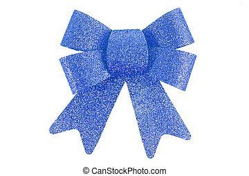 Blue  Bow, Isolated On White Background,