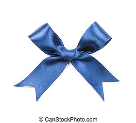 Blue bow isolated on white background