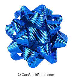 Blue bow isolated