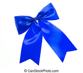 Blue bow isolated on white.