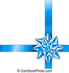 Blue bow on a blue ribbon with white background