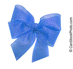 Blue bow on a white background.