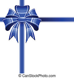 blue bow on a white background