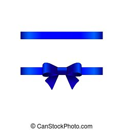 Blue bow on a white background. Vector illustration for your design.