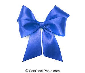 Blue bow on white background.