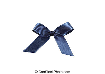 Blue bow on white background