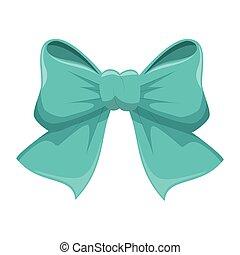 blue bow ribbon icon decorative