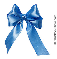 blue bow, ribbon isolated on white