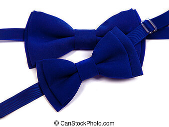 Blue bow tie isolated on white background. Big and small for dad and child.