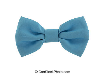 Blue bow tie isolated on white background with clipping path