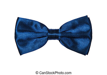 Blue bow-tie on white background