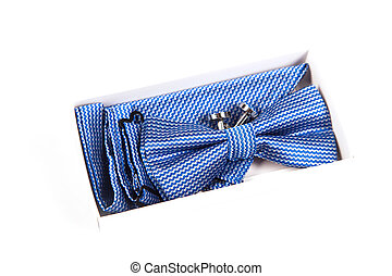 Blue bow tie with a pattern on a white background. Accessory for formal dress. Men's and women's accessories. Men's and women's bow tie. Hipster style