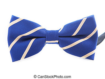 Blue Bow with white line Isolated On White Background