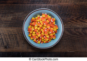 Blue Bowl of Candy Corn Centered