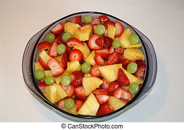 Blue Bowl of Fruit Salad