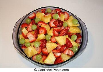 Blue Bowl of Fruit Salad