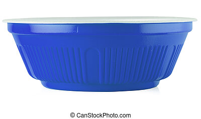 Blue bowl on the white background.