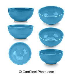 blue bowl on white background