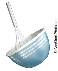 Blue bowl with a wire whisk isolated on a white background. 3D render.
