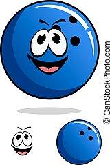 Blue bowling ball character
