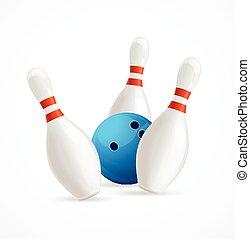 Bowling Ball Crashing Into The Pins. Vector