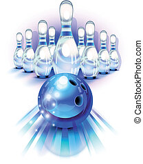Blue bowling ball in motion and the pins