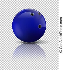 Blue bowling ball isolated on transparent background. Vector realistic illustration.