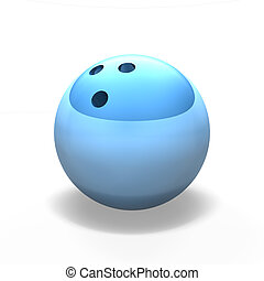 blue bowling ball on against white
