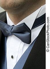 A man wears a blue bowtie, blue vest, white shirt and black formal tuxedo.