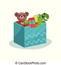 Blue box full of children toys. Brown teddy bear, green dinosaur, red car and rubber balls. Flat vector icon
