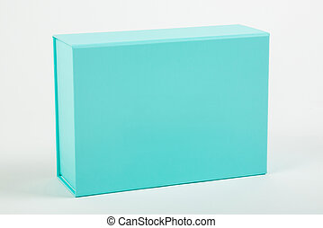 Blue box on a white background. Close-up.