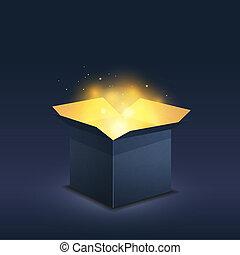 Blue box with magic golden light on dark background