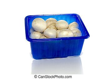blue box with mushrooms