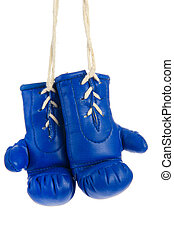 Blue boxing gloves - Pair of hanging blue boxing gloves...