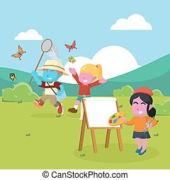 Blue boy and pink girl catching butterfly while being painted