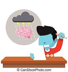 blue boy brain storming