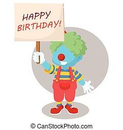 blue boy clown holding birthday party sign