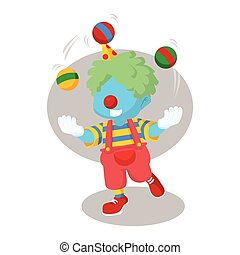 blue boy clown juggling