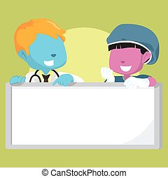 blue boy doctor and pink girl surgeon holding sign