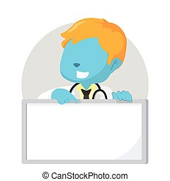 blue boy doctor holding sign