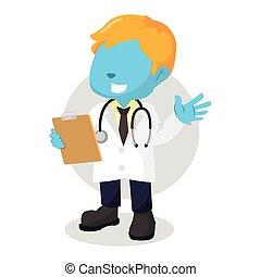 blue boy doctor illustration design